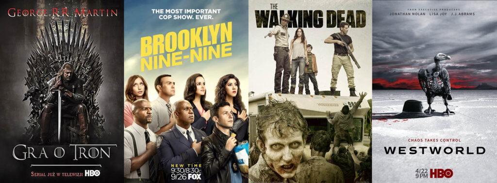 plakaty: Gra o Tron, Brooklyn Nine-Nine, The Walking Dead, Westworld