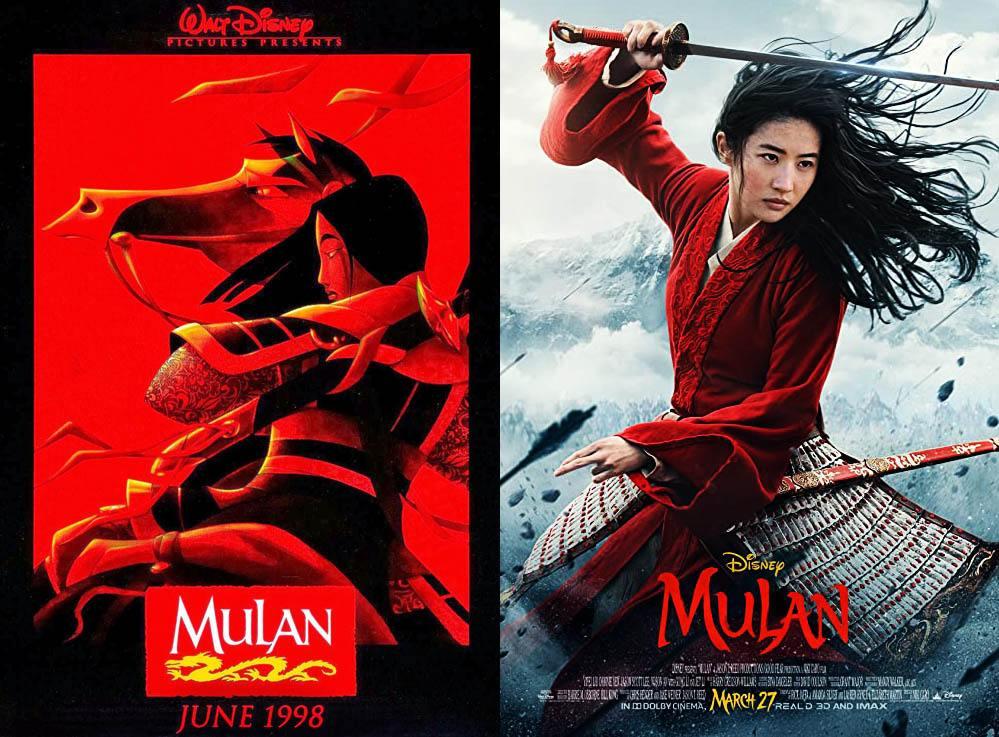 Postery filmów Disney - Mulan 1998 i 2020