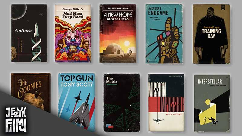 Okładki filmów w formie starych książek