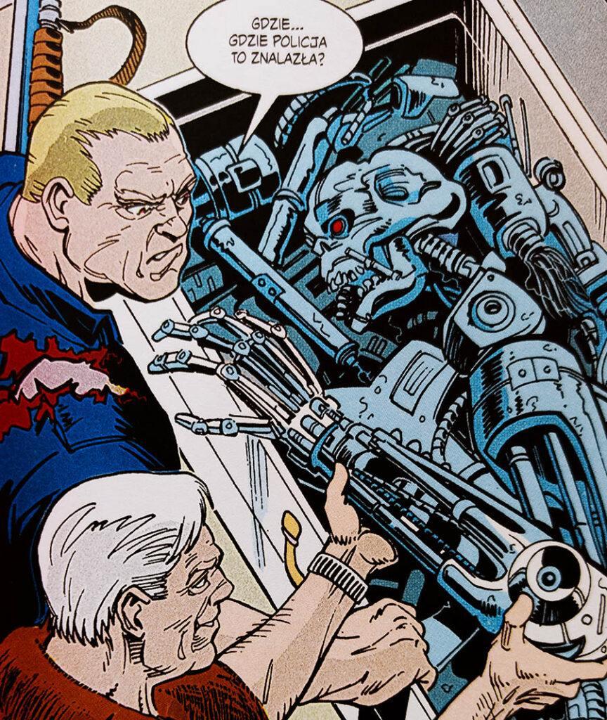 Szczątki zmiażdżonego Terminatora w komiksie Terminator: Nawałnica